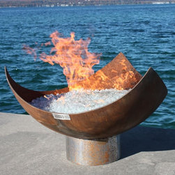 "King Isosceles 37"" Firebowl - This firepit is an impressive scene with it's open style bowl. While definitely not the right choice for families with small children, there's something stunning about the recycled steel opening up to show a pile of glowing material with flames shooting out. If you have a large outdoor space, this would make an impressive centerpiece."