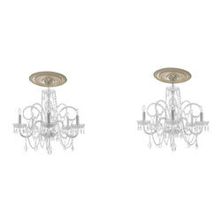 "4pc Lighting Set - 2 Crystal Chandeliers H25"" X W24"" and 2 Wall Sconces - These beautiful fixtures are trimmed with Empress Crystal(TM). Items must be hardwired. Professional installation is recommended. Chandelier requires (5) 40 watt bulbs. Sconce requires (2) 40 watt bulbs. Bulbs not included."