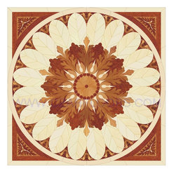 Wood Inlays Collection - Wood Floor Medallion Inlay P3 is available in sizes 30 in. and up. All natural wood colors without any artificial paint.  Inlays can be installed into new or existing wood floors. Wood medallions are compatible with most floors except laminate. Medallions are available unfinished or prefinished with commercial grade polyurethane finish.