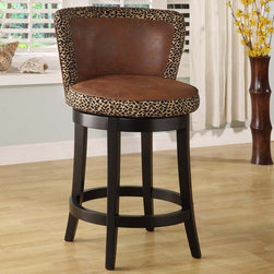 Armen Living - Lisbon 26in. Swivel Barstool in Leopard Print Fabric - Leopard print fabric material on a 360 degree swivel 26 inches high seat w/ espresso wood frame.