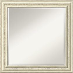 Amanti Art - Country Whitewash Square Wall Mirror - This mirror features a lovely cream colored frame with a distressed, weathered finish and is perfect for a casual, shabby-chic decor.