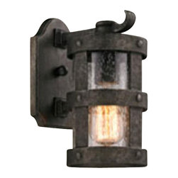 Troy Lighting - Troy Lighting Barbosa Transitional Outdoor Wall Sconce X-1133B - This old fashioned style transitional outdoor wall sconce is a great way to add some light and character to the outside of your home. The old world design will be certain to draw attention and even change the look and feel of your porch or patio. The high quality materials are hand crafted not only to last but to add traditional elements to this light.