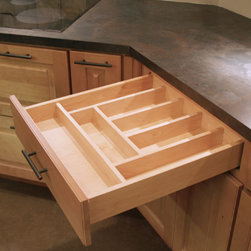 """CliqStudios.com - Cutlery Tray - Our drawer inserts are 1/2"""" Solid hardwood dividers, with a plywood base and a tough melamine top finish. The Cutlery Tray insert is great for organizing spoons, forks and knifes and more. Fits into base cabinets from 15"""" – 24"""" wide and will have varied configurations."""