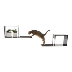 "Designer Pet Products - The Sophia Wall Mounted Cat Tree - Give your cat a place to perch and climb that looks great in your home. This elegant wall-mounted cat tree looks like a book shelf in your house, and satisfies your cat's natural instinct to be up high. The Sophia Cat Tree comes in a set of two pieces that can be arranged in various configurations. One piece has an opening for your cat to climb through and the other piece has a closed off area for decorative items. The Sophia Cat Tree is easily assembled, and comes with detailed instructions. For setup, you will need a Phillip's head screwdriver, a drill, a hammer, and a pencil. Features: -Comes in a set of two separate shelves which can be mounted on wall in a variety of configurations.-Carpet on both perches for resting.-Attaches to wall with brackets and supports cats up to 25 lbs safely.-Painted with durable, glossy, non-toxic, lead-free paint - made to last.-Cat entrance hole is 7.5"" wide by 8"" high to fit large cats.-Distressed: No.Dimensions: -Overall Height - Top to Bottom: 13.-Overall Width - Side to Side: 13.-Overall Depth - Front to Back: 10.-Overall Product Weight: 18.74 lbs."