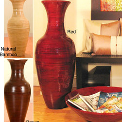 None - 36-inch Bamboo Tall Floor Vase - You can easily fill up the decorative space in a room of your home with this tall bamboo floor vase. Each vase is handcrafted, with the bamboo sanded smooth before being stained a deep rich color that shows off the natural beauty of the wood.