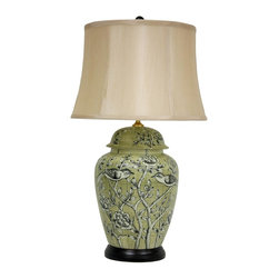 "Oriental Furniture - 25"" Jade Green Birds and Flowers Lamp - Fine porcelain ceramic vase lamp with a classic ginger jar body and domed lid. Light background features highly detailed birds and branches design. Lamp is mounted on a round Rosewood base and includes a tapered drum shade, harp and decorative finial. Hardware is UL certified and uses standard U.S. bulbs."