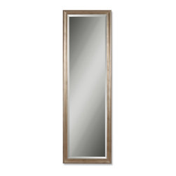 """Uttermost - Petite Hekman Antique Silver Mirror - This solid wood frame features a antique, champagne silver leaf finish with black undercoat. The mirror features a 1 1/4"""" bevel."""