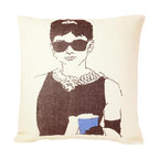 reStyled by Valerie - Audrey Hepburn Throw Pillow - Add class to your couch with a throw pillow that features Audrey Hepburn in the role that made her a star. This hand-screen printed image of Holly Golightly is based on an original illustration by Christabel Dunham and printed on a lovely, linen blend fabric.