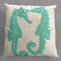 "Dermond Peterson - Seahorse Turquoise Pillow on Natural Linen - Bright, playful, and fun! Dermond Peterson pillows are a chic and sophisticated way to add a piece of art to your living room or bedroom. Features: -Color: Turquoise and Natural Linen. -Each pillow is made to order. -Hand block printed on natural linen using water based ink. -Feather and down insert. -Pillowcase is machine washable. -Machine wash cold on gentle cycle. -Made in Milwaukee, WI. -Overall dimensions: 20"" H x 20"" W x 4"" D."