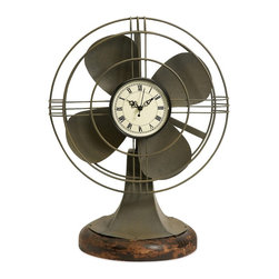 Vintage Fan Table Clock - *Any classic, retro style room would not be complete without the Thatcher vintage fan clock.