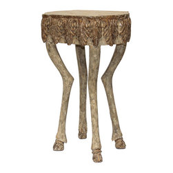 """Stag Leg Accent Table - 30""""H - This remarkable taller version of our endearingly carved Stag Leg Accent Table features cloven-hoofed feet on each of four realistically rendered deer legs that support the elegant carved top at the height of a standard sofa arm, making this a perfect end table for contrasting with a dark loveseat or adding its Renaissance-inspired motifs to an unused corner. The basic finish is a smooth grey-white stone with burnished touches on the hooves and the acanthus-leaf border for detailed appeal."""