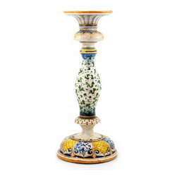 Artistica - Hand Made in Italy - MAJOLICA: Old World Candlestick - MAJOLICA Collection: This masterpiece truly reflect the expertise of the Italian Mastri-Ceramisti, who have spent the last five centuries perfecting the tin-glazed earthenware that is today called Majolica.