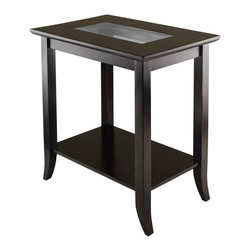 "Winsome Wood - Winsome Wood Genoa Rectangular End Table w/ Glass Top & Shelf - Rectangular End Table w/ Glass Top & Shelf belongs to Genoa Collection by Winsome Wood Genoa Rectangular End Table with Glass inset and shelf. Overall table size 23.94""W x 16.3""D x 25""H. Table top size is 24""W x 16.3""D, Tempered Glass size is 14.37""W x 6.73""D. Shelf size is 20.79""W x 13.15""D. Wood is made with combination of solid and composite wood in dark espresso finish. Assembly Required. End Table (1)"