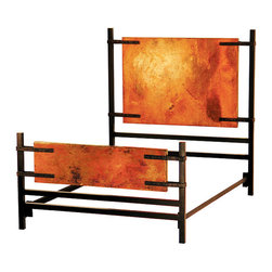 Copper Furniture - Florida Bed w/Copper Panels - La Fuente Imports - This Copper Collection Florida bed features extra-large hammered copper panels held by unique iron work on the head- and foot boards. Add Southwest elegance to your bedroom and be sure to select matching Copper Collection pieces to complete a set!