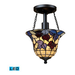Elk Lighting - Elk Lighting Semi Flushes Semi Flush with Tiffany Bronze X-DEL-1-19007 - Semi Flush In Tiffany Bronze  - LED Offering Up To 800 Lumens (60 Watt Equivalent) With Full Range Dimming. Includes An Easily Replaceable LED Bulb (120V).