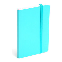 Poppin - Soft Cover Notebook, Aqua, Small - Keep your little black book — or play the field in a rainbow of colors. This notebook features 192 white ruled pages for your field notes, love poems and bright ideas, and it has an interior pocket, elastic closure and an orange bookmark so you know your place.