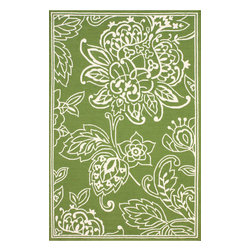 nuLOOM - Contemporary Outdoor 8' x 10' Green Hand Hooked Area Rug Indoor Outdoor Floral - Made from the finest materials in the world and with the uttermost care, our rugs are a great addition to your home.