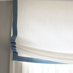 Custom Window Treatments by Lynn Chalk - Custom Casual Roman Shade by Lynn Chalk in Kravet Dublin Linen in Bleach with Samuel and Sons Grosgrain Ribbon Trim in Azure