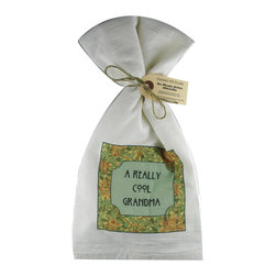 Really Cool Grandma    Flour Sack Towel  Set of 2 - A fabulous set of 3 flour sack towels. This set features a great print saying about a Really Cool Grandma.   These towels are printed in the USA by American Workers!