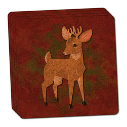 "Made on Terra - Cute Deer Buck Thin Cork Coaster Set of 4 - You're just cleaning up after your epic party when you realize it... something's different. Unlike all those other times, you're not mopping up cup condensation from your counters and tables. This time, everyone used a coaster. Everyone. Maybe it's because you handed out a coaster with every glass. No. You've tried that before. No, this time it's because of the actual coasters. You found the cutest Made On Terra printed cork coasters. You love that everyone commented on how unique they were,  from the light-weight, thin cork material to the printing that creates a cool and subtle effect. Plus, they're really absorbent, but dry quickly. And they're made from an eco-friendly, sustainable resource, so that makes you feel pretty great, too. Choose from Made on Terra's many fabulous cork coasters. Measures 4"" x 4"" x 1/8"". Made of thin cork. Super cute and nicely absorbent. Sold in sets of four."