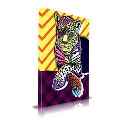 "Apt2B - 'Cat Colors' Print by Maxwell Dickson, 18"" x 24"" - A spotted leopard is set on a plaid surface against a striped background for an exciting mashup of patterns. This print's bold graphic style and bright mod colors give it a pop art feel that would look fresh among retro decor influences."
