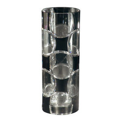 Dale Tiffany - Dale Tiffany Rocky Black Tiffany Crystal Decor Vases / Decorative Vase X-24008AG - The cylindrical shape of this Dale Tiffany decorative vase helps to give it a clean, modern look. Complimented by the clear circular detailing, this charming crystal vase also features an eye-catching black backdrop, which accentuates the shape and patterning.
