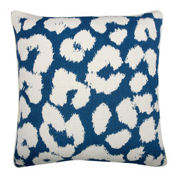 "Thomas Paul - Thomas Paul Leopard Marine Pillow - The square Thomas Paul Leopard throw pillow excites with safari-inspired texture. Turning to reveal an inverted color palette, the chic accessory delivers the modern sofa exotic allure. 22""W x 22""H; Marine blue and white; 100% unbleached cotton fabric; Hand silkscreened design; Includes down feather insert; Hand wash with soap and warm water"