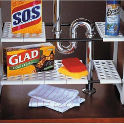 Expandable Under Sink Storage Shelf - Expandable under-sink storage shelf with two tiers and removable panels that let you customize an opening for your pipes.