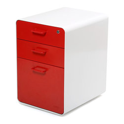 "Poppin - West 18th File Cabinet, White/Red - Add this one to the style file. Smooth, sexy powder-coated steel comes in pure white and several eye-popping colors and the sleek white even continues inside. It features two utility drawers with dividers and one hanging file drawer, all of which lock to keep your private files private — or your afternoon ""crash"" candy out of reach."
