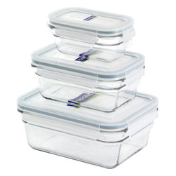 Glasslock 6pc Rectangle Oven Safe Set - Includes Rectangles: 1 x 3.5 cup / 1 x 1.6 cup / 1 x 0.6 cup