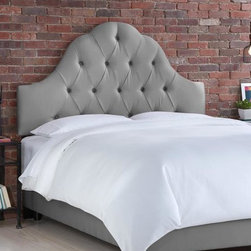 "Home Decorators Collection - Custom Georgiana Upholstered Bed - Our exquisitely crafted and custom-upholstered Georgiana Upholstered Bed is an ideal focal point to add to any bedroom. The delicately curved headboard is upholstered in the same fabric as the rails and footboard. Choose your fabric from our large selection of top-quality options to create your perfect piece. Fits standard high-profile box spring of 9"". Steel bed frame. Includes hardware and instructions. Assembled to order in the USA and delivered in 4-6 weeks. Spot clean only."