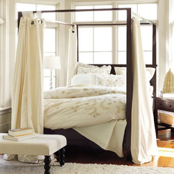 Farmhouse Canopy Bed - This shaker style mahogany canopy bed lets the queen of the family have her way without feminizing the room.