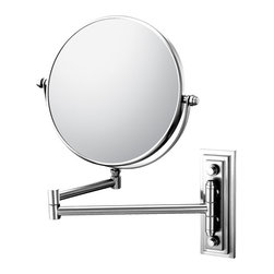 """Classic Double Arm Wall Mirror - This traditional, yet deco styled Double Arm Wall Mirror's luxurious look makes it a wonderful accessory for making any bathroom look like a million bucks. Its double sided 1x/5x and 7 ¾"""" diameter mirrors make it a favorite, and its 13 ¾"""" extension makes it fit into most spaces."""