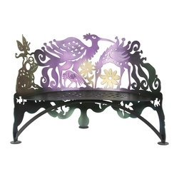 Cricket Forge - Bird Bench - This colorful, fascinating, functional and fun bench is a great find for those who fancy our feathered friends of flight. Interesting airbrush applications of multiple color shifting colors makes this bench a real attention grabber. Colors shift from dark purple to dark green, lime green to gold with golden accents.