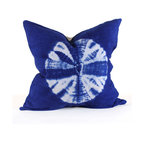 Pfeifer Studio Collection - This graphic cotton pillow in vibrant cobalt blue is hand woven and dyed in Burkina Faso by artisans working under Fair Trade conditions.