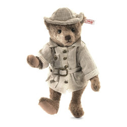 Steiff - Steiff Livingston Teddy Bear - Here´s your tour guide through Paradise Jungle: meet Livingston the explorer. He´s ready to take you on the journey of a lifetime. Dressed in his linen safari outfit complete with hat and stylized coat with dapper brass buttons and belt buckle, Livingston is ready to show you the sights. He´s made of caramel colored felted mohair and has light wool felt paw pads. His nose is hand stitched and his shiny black eyes catch every detail. Livingston knows his way around Paradise Jungle better than anyone - come along and let him show you the way!