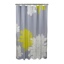 BlissLiving Home - Blissliving Home Ashley Citron Shower Curtain - This luxury shower curtain is the  perfect blend of gray, yellow and white. A wonderful floral print that will add the pop of color you are looking for in your bathroom. Get this curtain before it is gone!