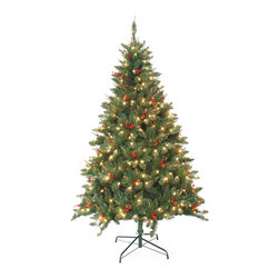 Jeco - Pre-Lit Berrywood Pine 7-foot Artificial Christmas Tree - This seven-foot,pre-lit artificial tree delivers holiday warmth and cheer. The tree assembles in sections and includes a stand for easy setup. With 400 clear lights,red berries,and pine cones you won't have a need to add extra ornaments.