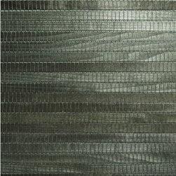 Michiko Green Grasscloth Wallpaper - An exotic dark green bamboo grasscloth wallpaper, with a wide, flat natural weave.
