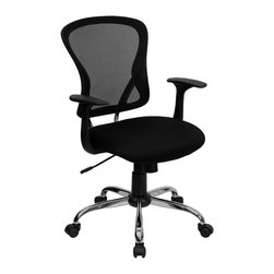 Flash Furniture - Flash Furniture Mid-Back Black Mesh Office Chair - Sporting a contemporary look and ergonomic design, this mesh covered office chair from Flash Furniture is perfect for any office setting, but is economically priced to be affordable for most home office users. Featuring an open mesh back with passive lumbar support, a thickly padded mesh covered seat, and a chrome finished base, this chair is sure to be an attractive and comfortable addition to any setting. [H-8369F-BLK-GG]