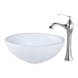 Kraus - Kraus C-KCV-141-15000BN White Round Ceramic Sink and Ventus Faucet - Add a touch of elegance to your bathroom with a ceramic sink combo from Kraus