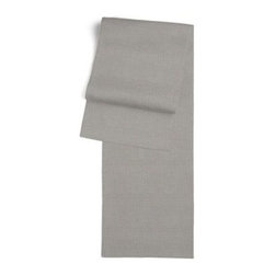 Slate Gray Fine-Woven Linen Custom Table Runner - Get ready to dine in style with your new Simple Table Runner. With clean rolled edges and hundreds of fabrics to choose from, it's the perfect centerpiece to the well set table. We love it in this medium gray super soft lightweight linen blend with the finest texture.