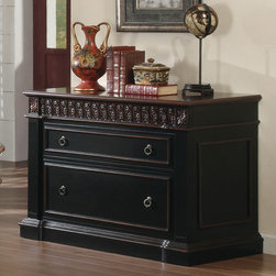 Coaster - Black / Cherry Traditional File Cabinet - This elegant shaped executive home office group boasts a gorgeous two tone finish, and features 7 drawers in the large oval executive desk, with a keyboard drawer and 2 cabinet drawer and 2 cabinets all with full extension drawer glides. Large bookcase features 2 file cabinet drawers and each bookcase has the option of being put together to build a library wall.