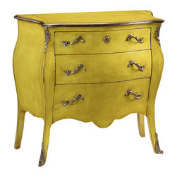 """Inviting Home - Yellow Louis XV Bombe Chest - Louis XV style three drawer bombe chest with lightly distressed lacquered yellow finish heavily antiqued silver trim and solid brass hardware in heavily antiqued silver finish; 41""""W x 17-3/4""""D x 37-1/2""""H made in Italy Louis XV style three drawer bombe chest with lightly distressed lacquered yellow finish and heavily antiqued silver trim. Hand-crafted chest has solid brass hardware in antique silver finish. This chest is hand-crafted in Italy."""