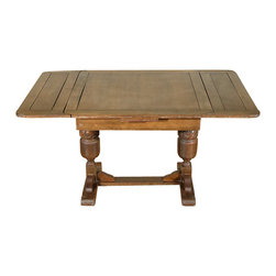 Antiques - 5Ft Wide Antique English Solid Oak Drawleaf Dining Pub Table c1940 - Solid oak construction