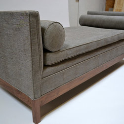 510_Furniture - Walnut chaise with custom upholstery