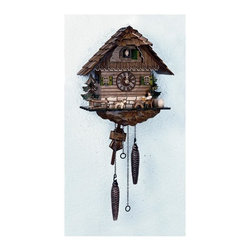 Schneider Cuckoo Clocks - Wooden Cuckoo Clock in Antique Finish - Original black forest house with individual handlaid wooden shingles. Wooden cuckoo bird, dial, hands and two metal weights. Beer drinker lifting his beer glass at every full hour. Quartz movement with twelve different melodies. Cuckoo call with echo. Wooden cuckoo calls and strikes every half and full hour. Electronic light sensor for automatic shut-off. Manual shut-off switch on left side of clock. Push button to set strike and time on left side of clock. Made from wood. Made in Germany. 10.6 in. W x 7.1 in. D x 11.4 in. H (6.2 lbs.). Care Instructions