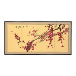 "Oriental Furniture - Plum Blossom - 24"" - Plum and cherry blossom motifs signify new beginnings, and this one is particularly lovely, with finely rendered branches and blossoms. Note that no two renderings are exactly the same. Subtle, beautiful hand painted wall art."