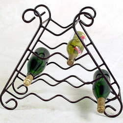 Grace Collection - 10 Bottle Iron Wine Rack (Aged Iron) - Finish: Aged IronThe unique pyramidal shape of this solid wrought iron wine rack will draw attention to ten of your favorite wines.  Available in your choice of a dozen rich finishes to suit your décor, this elegant wine rack will be a sure conversation starter.  This is just one of our many quality constructed wrought iron wine racks.  This 10 bottle wrought iron wine rack is perfect for displaying your vintage wines for all to see.  Travel from one wine country to the next without leaving your dining area with your masterfully crafted Wrought Iron Wine Rack, a matchless room accessory to brighten your home's décor. * Wrought iron construction. Many metal finish options available. 23W x 8D x 20H in.. Weight: 8 lbs.