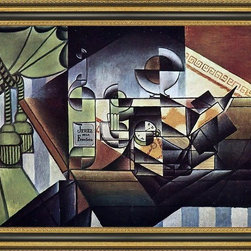 """Art MegaMart - Juan Gris Watch (Sherry Bottle) - 16"""" x 24"""" Juan Gris The Watch (also known as The Sherry Bottle) framed premium canvas print reproduced to meet museum quality standards. Our Museum quality canvas prints are produced using high-precision print technology for a more accurate reproduction printed on high quality canvas with fade-resistant, archival inks. Our progressive business model allows us to offer works of art to you at the best wholesale pricing, significantly less than art gallery prices, affordable to all. This artwork is hand stretched onto wooden stretcher bars, then mounted into our 3 3/4"""" wide gold finish frame with black panel by one of our expert framers. Our framed canvas print comes with hardware, ready to hang on your wall.  We present a comprehensive collection of exceptional canvas art reproductions by Juan Gris."""